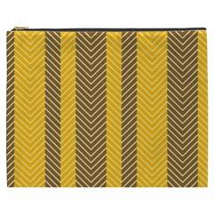 Brown And Orange Herringbone Pattern Wallpaper Background Cosmetic Bag (xxxl)