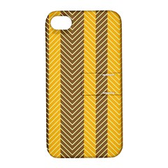 Brown And Orange Herringbone Pattern Wallpaper Background Apple iPhone 4/4S Hardshell Case with Stand