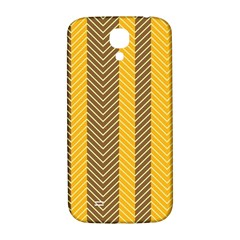 Brown And Orange Herringbone Pattern Wallpaper Background Samsung Galaxy S4 I9500/I9505  Hardshell Back Case