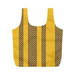 Brown And Orange Herringbone Pattern Wallpaper Background Full Print Recycle Bags (M)