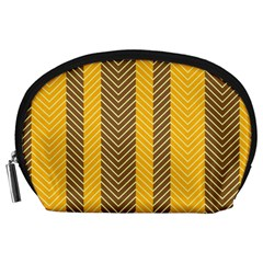 Brown And Orange Herringbone Pattern Wallpaper Background Accessory Pouches (Large)
