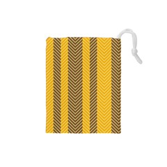 Brown And Orange Herringbone Pattern Wallpaper Background Drawstring Pouches (small)