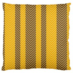 Brown And Orange Herringbone Pattern Wallpaper Background Large Flano Cushion Case (One Side)