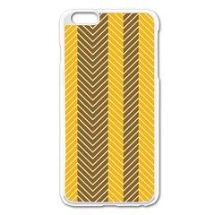 Brown And Orange Herringbone Pattern Wallpaper Background Apple Iphone 6 Plus/6s Plus Enamel White Case