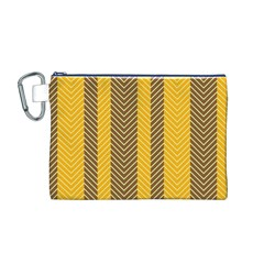 Brown And Orange Herringbone Pattern Wallpaper Background Canvas Cosmetic Bag (M)