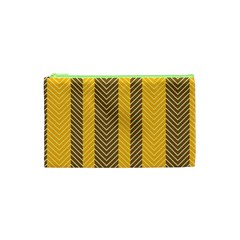 Brown And Orange Herringbone Pattern Wallpaper Background Cosmetic Bag (XS)
