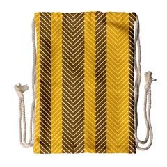 Brown And Orange Herringbone Pattern Wallpaper Background Drawstring Bag (Large)
