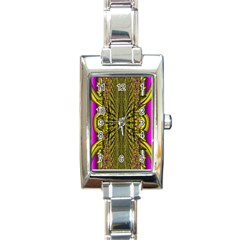 Fractal In Purple And Gold Rectangle Italian Charm Watch