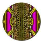 Fractal In Purple And Gold Round Mousepads Front