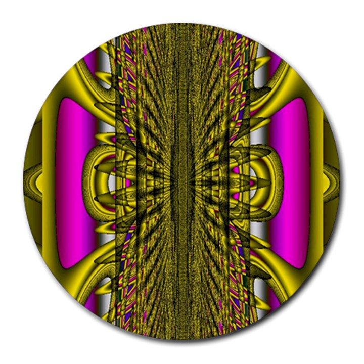 Fractal In Purple And Gold Round Mousepads