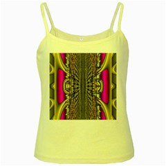 Fractal In Purple And Gold Yellow Spaghetti Tank