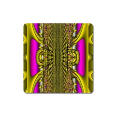 Fractal In Purple And Gold Square Magnet