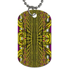 Fractal In Purple And Gold Dog Tag (two Sides)