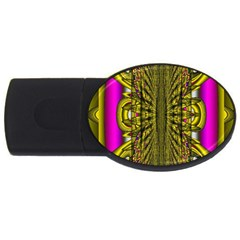 Fractal In Purple And Gold USB Flash Drive Oval (2 GB)