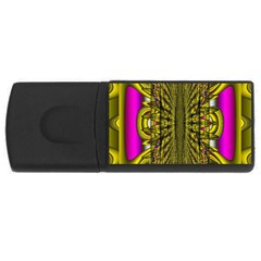 Fractal In Purple And Gold USB Flash Drive Rectangular (1 GB)