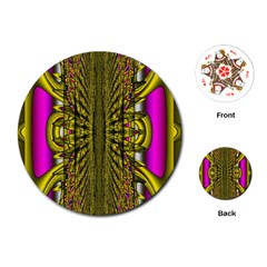 Fractal In Purple And Gold Playing Cards (Round)