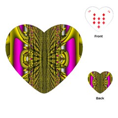 Fractal In Purple And Gold Playing Cards (heart)