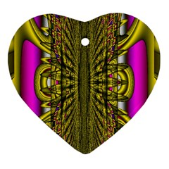 Fractal In Purple And Gold Heart Ornament (Two Sides)