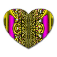Fractal In Purple And Gold Heart Mousepads