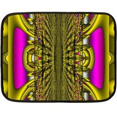 Fractal In Purple And Gold Fleece Blanket (mini)