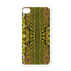 Fractal In Purple And Gold Apple iPhone 4 Case (White)