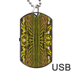 Fractal In Purple And Gold Dog Tag USB Flash (Two Sides)
