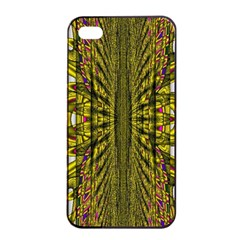 Fractal In Purple And Gold Apple Iphone 4/4s Seamless Case (black)
