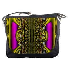 Fractal In Purple And Gold Messenger Bags