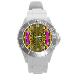 Fractal In Purple And Gold Round Plastic Sport Watch (L)