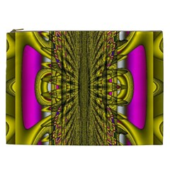 Fractal In Purple And Gold Cosmetic Bag (XXL)