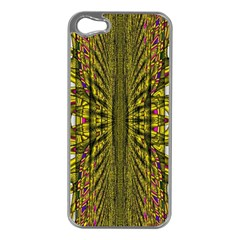 Fractal In Purple And Gold Apple iPhone 5 Case (Silver)