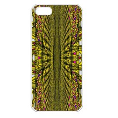 Fractal In Purple And Gold Apple iPhone 5 Seamless Case (White)