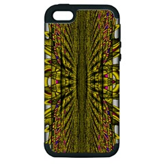 Fractal In Purple And Gold Apple iPhone 5 Hardshell Case (PC+Silicone)