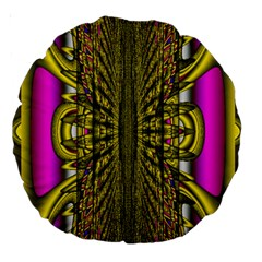 Fractal In Purple And Gold Large 18  Premium Round Cushions