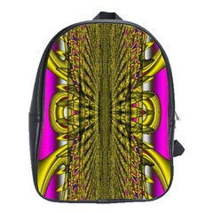 Fractal In Purple And Gold School Bags (xl)