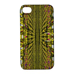 Fractal In Purple And Gold Apple iPhone 4/4S Hardshell Case with Stand