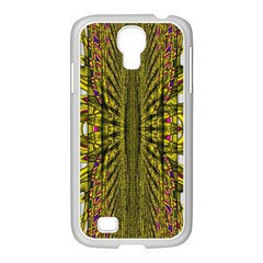 Fractal In Purple And Gold Samsung GALAXY S4 I9500/ I9505 Case (White)