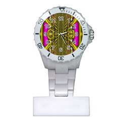 Fractal In Purple And Gold Plastic Nurses Watch