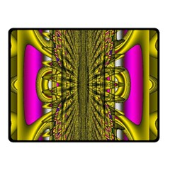 Fractal In Purple And Gold Double Sided Fleece Blanket (Small)