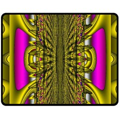 Fractal In Purple And Gold Double Sided Fleece Blanket (Medium)