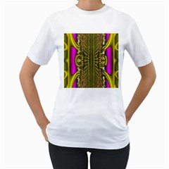 Fractal In Purple And Gold Women s T-Shirt (White)