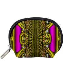 Fractal In Purple And Gold Accessory Pouches (Small)