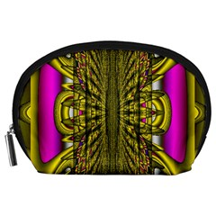 Fractal In Purple And Gold Accessory Pouches (Large)