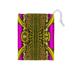 Fractal In Purple And Gold Drawstring Pouches (Medium)
