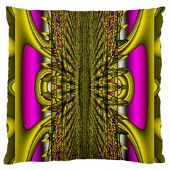 Fractal In Purple And Gold Standard Flano Cushion Case (Two Sides)