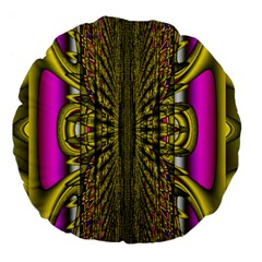 Fractal In Purple And Gold Large 18  Premium Flano Round Cushions
