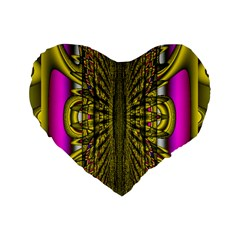 Fractal In Purple And Gold Standard 16  Premium Flano Heart Shape Cushions