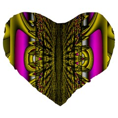 Fractal In Purple And Gold Large 19  Premium Flano Heart Shape Cushions