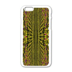Fractal In Purple And Gold Apple iPhone 6/6S White Enamel Case