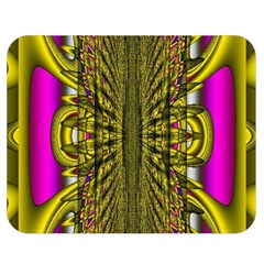 Fractal In Purple And Gold Double Sided Flano Blanket (Medium)
